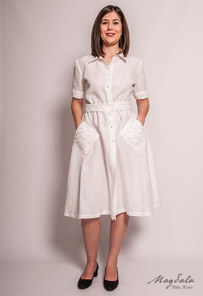 727a7f599 Vestido de lino con punto smock. – Magdala Taller Textil